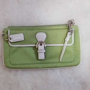 ❣coach retro green/white leather clutch/mini-purse